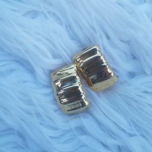 Napier Gold tone Classic Ribbed post earrings